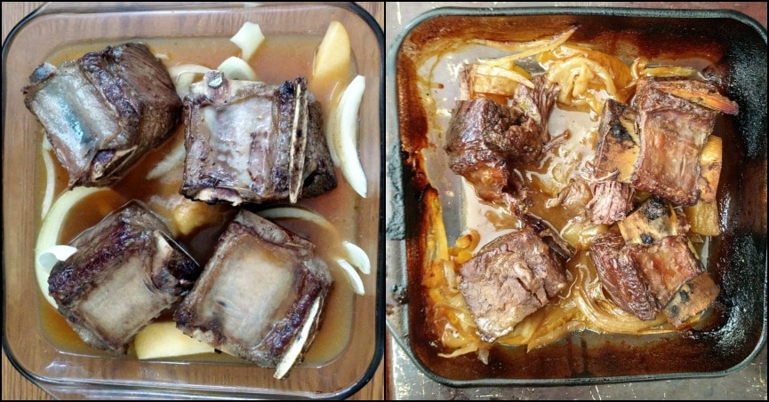 Short Ribs Before and After