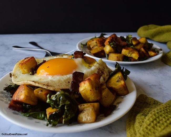 Plantain, Bacon, & Kale Hash | DoYouEvenPaleo.net