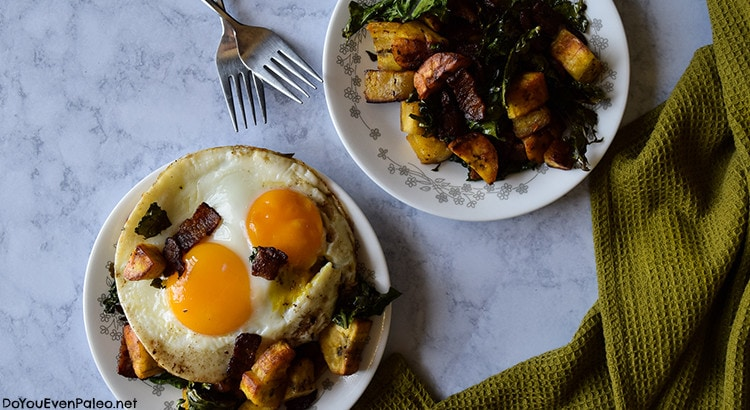 Plantain Bacon and Kale Hash