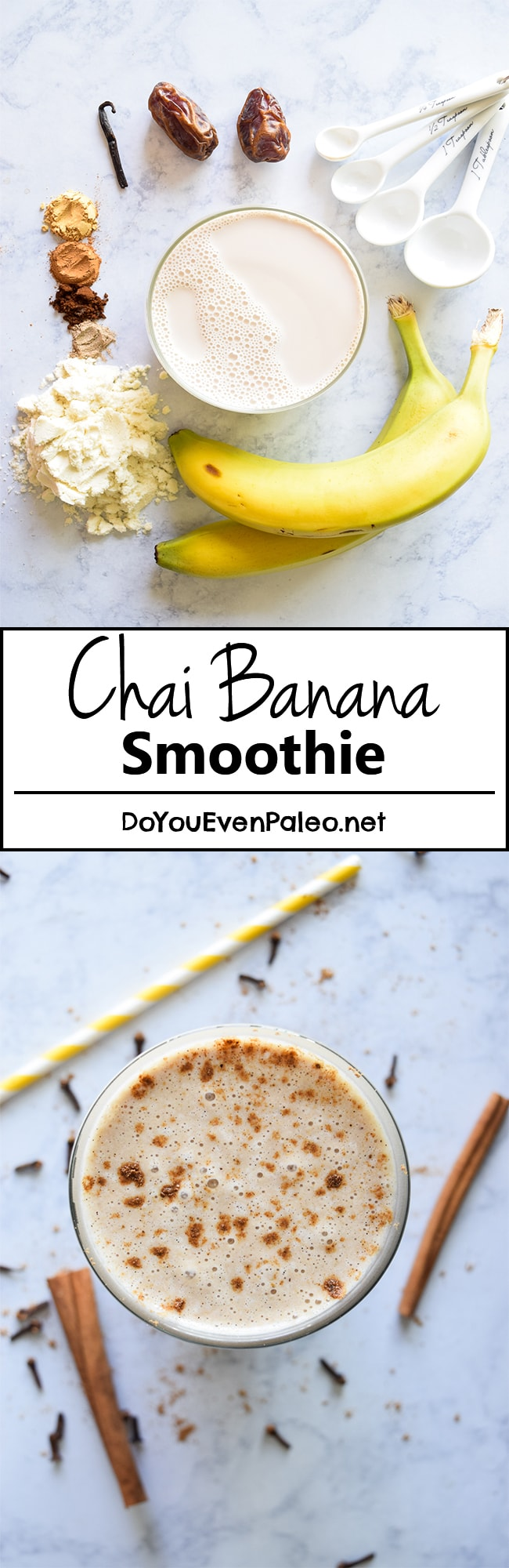 Chai Banana Smoothie - with the right blend of spices, this smoothie is simple and addictive! | DoYouEvenPaleo.net