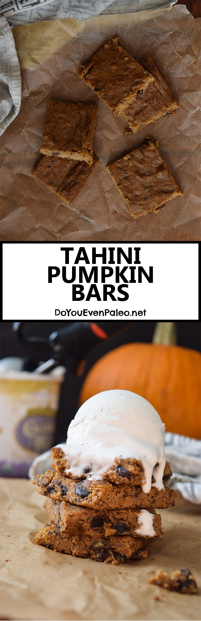Tahini Pumpkin Bars - not super sweet, but strangely addicting paleo treats. Top with ice cream for bonus points! | DoYouEvenPaleo.net