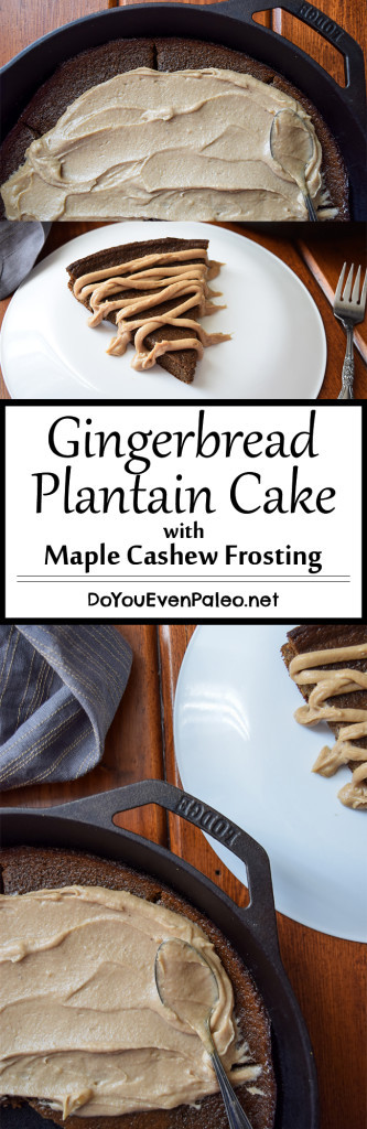 Gingerbread Plantain Cake + Maple Cashew Frosting - A simple, flourless, paleo gingerbread cake recipe made with my favorite food (plantains)! It's so simple - just blend and bake. This gingerbread plantain cake makes an excellent gluten free holiday treat!| DoYouEvenPaleo.net