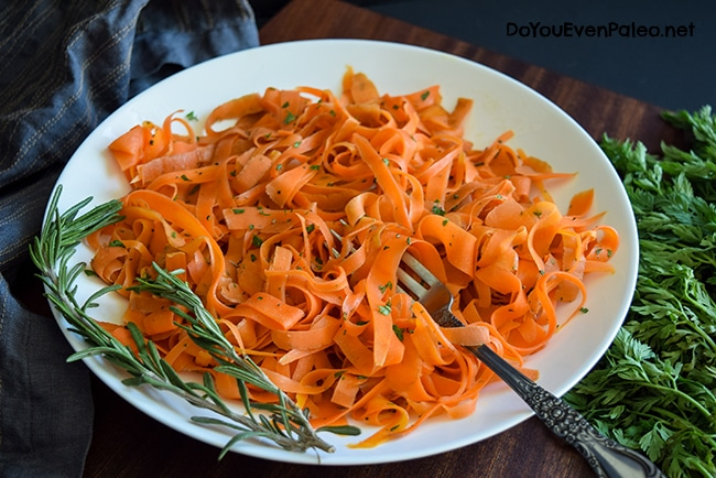 Carrot Ribbons with Rosemary Butter Sauce   DoYouEvenPaleo.net