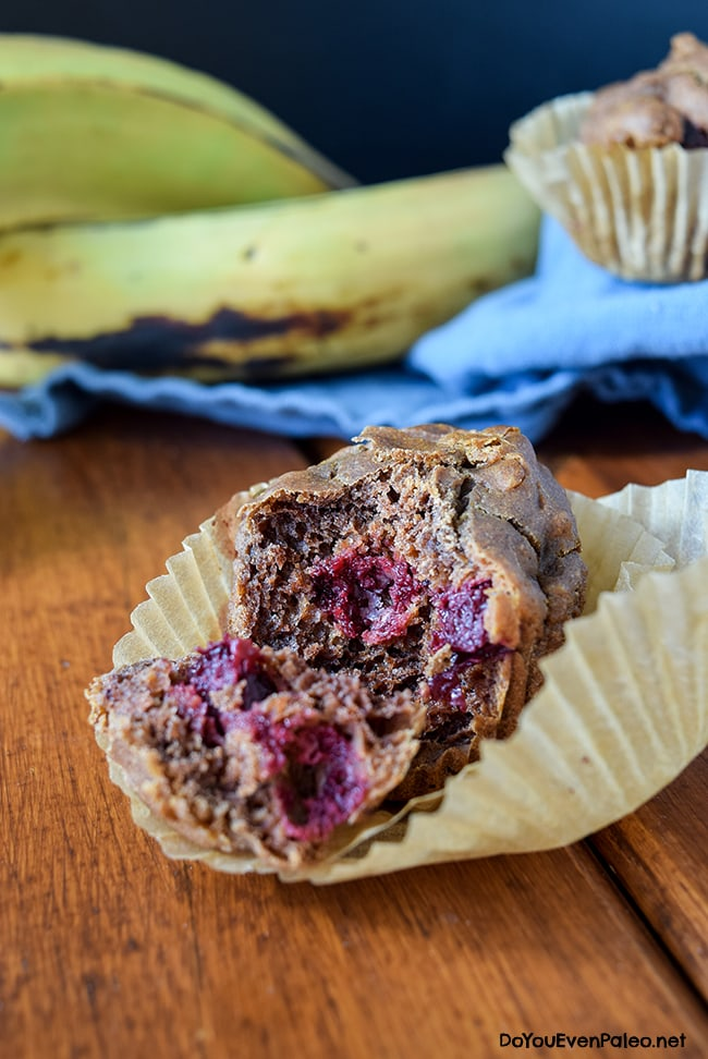Flourless Cherry Plantain Muffins - paleo, gluten free, vegetarian, blender recipe! | DoYouEvenPaleo.net