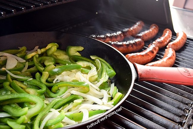 Brats with Grilled Onions & Peppers | DoYouEvenPaleo.net