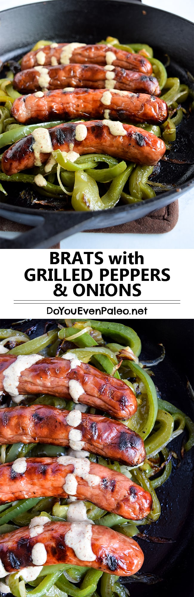 Brats with Grilled Onions & Peppers - make this entire meal on the grill in 20 minutes with the help of a cast iron skillet! | DoYouEvenPaleo.net