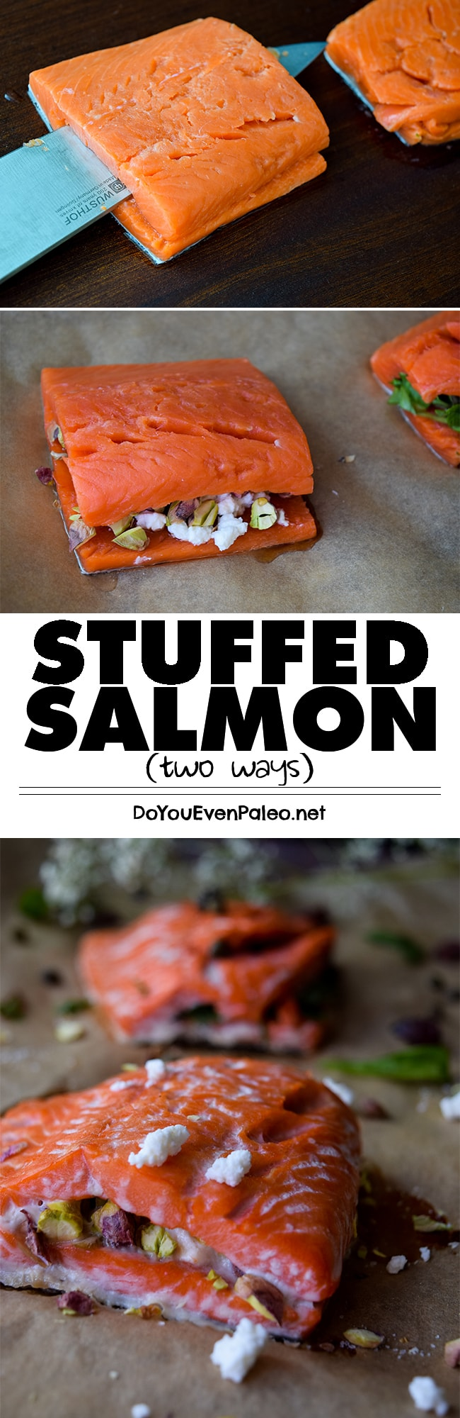 Stuffed Salmon - the possibilities are endless! Gluten free with paleo options. | DoYouEvenPaleo.net