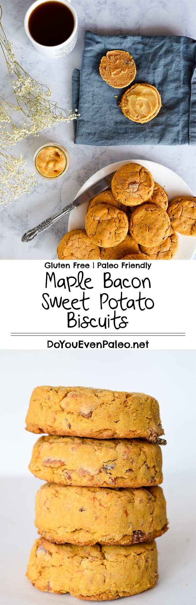 Maple Bacon Sweet Potato Biscuits plus a quick recipe for maple ghee! These biscuits are gluten free and dairy free with paleo-friendly options. | DoYouEvenPaleo.net