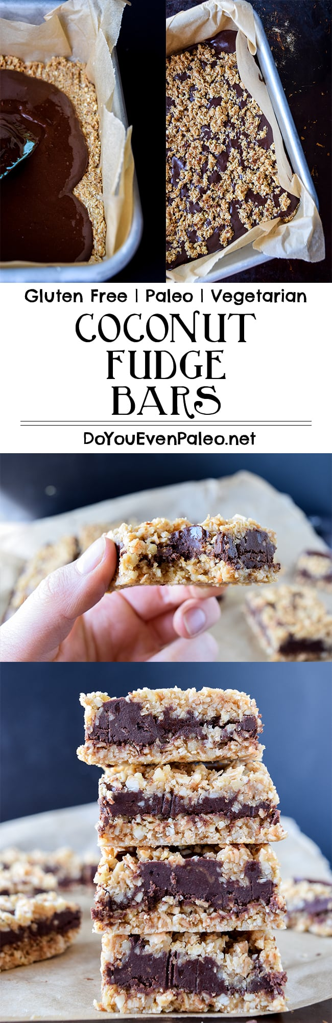 Paleo Coconut Fudge Bars Recipe Pin | DoYouEvenPaleo.net