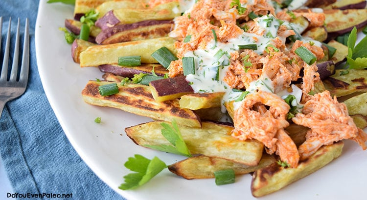 Buffalo Chicken Smothered Sweet Potato Fries | DoYouEvenPaleo.net