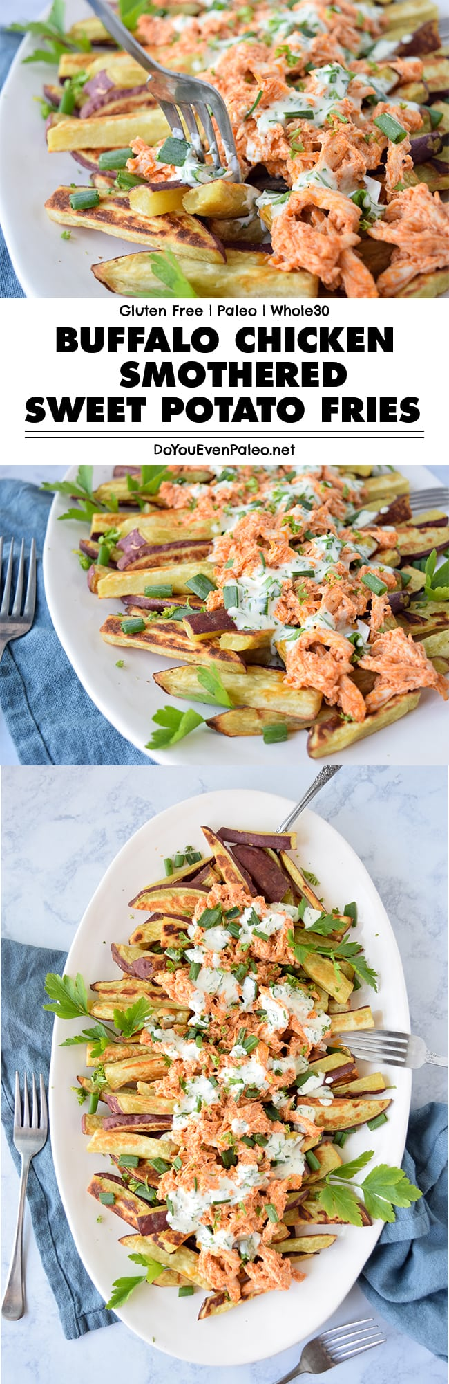Buffalo Chicken Smothered Sweet Potato Fries - this healthy recipe uses just a handful of ingredients for a hearty, crowd-pleasing meal. Baked sweet potato fries topped with buffalo chicken and a simple mayo sauce. Plus, it's a gluten free, paleo, clean eating, and Whole30 recipe! | DoYouEvenPaleo.net #paleo #glutenfree #doyouevenpaleo #whole30