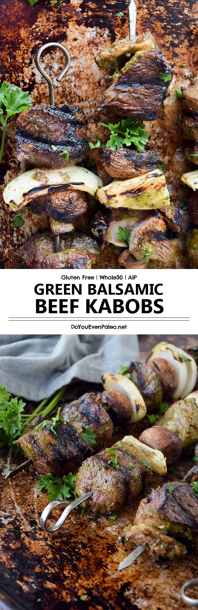 Green Balsamic Beef Kabobs - a simple marinade adds a twist of flavor to these easy kabobs! #glutenfree #paleo #aip | DoYouEvenPaleo.net