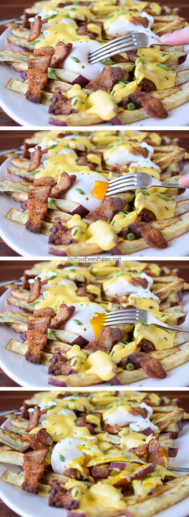 Pork Belly Benedict Smothered Fries | DoYouEvenPaleo.net