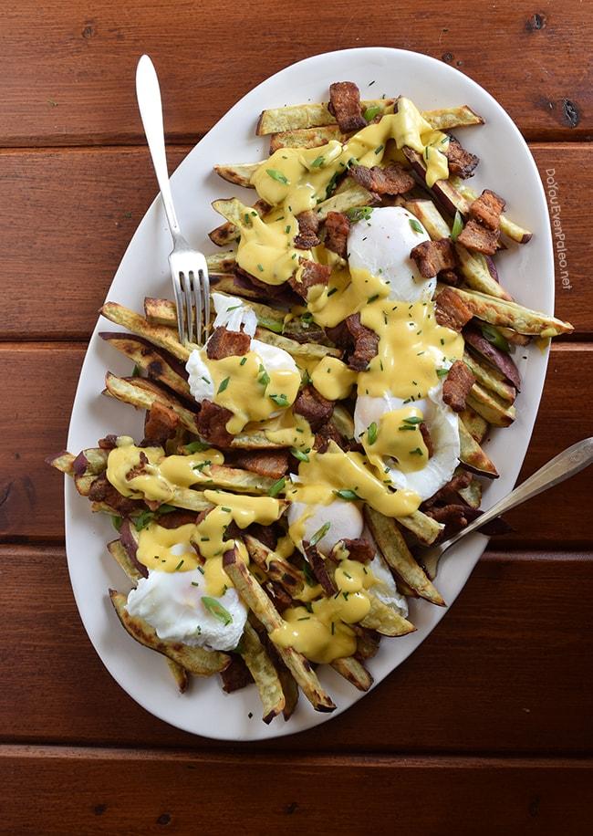 Pork Belly Benedict Smothered Fries | DoYouEvenPaleo.net