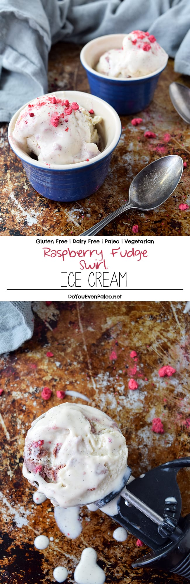 Raspberry Fudge Swirl Ice Cream - a dairy free, gluten free, paleo and vegetarian ice cream using freeze-dried raspberries for the best pop of summer flavor! | DoYouEvenPaleo.net