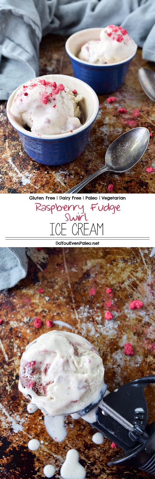 Raspberry Fudge Swirl Ice Cream - a dairy free, gluten free, paleo and vegetarian ice cream using freeze-dried raspberries for the best pop of summer flavor! | DoYouEvenPaleo.net