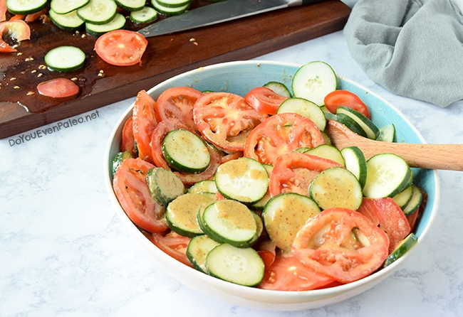Tomato and Cucumber Salad with Mustard Vinaigrette | DoYouEvenPaleo.net