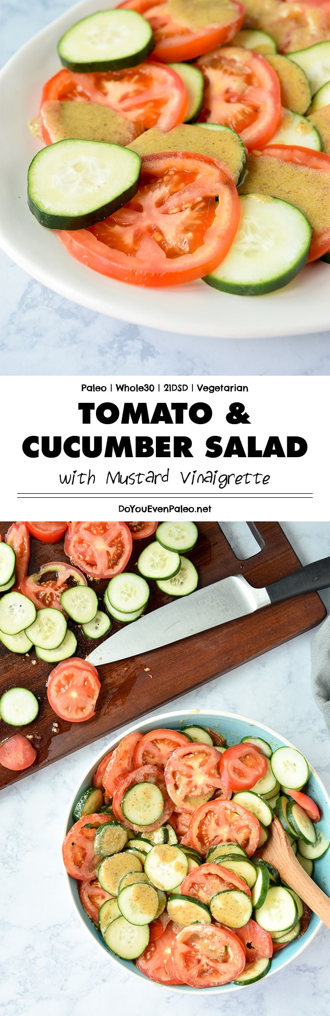 This Tomato & Cucumber Salad with Mustard Vinaigrette is the perfect healthy salad recipe for summer! With tomatoes, cucumbers, and a simple zesty vinaigrette to bring it all together, it's a gluten free, paleo, vegetarian, and Whole30 recipe you'll love. | DoYouEvenPaleo.net #paleo #glutenfree #doyouevenpaleo #whole30