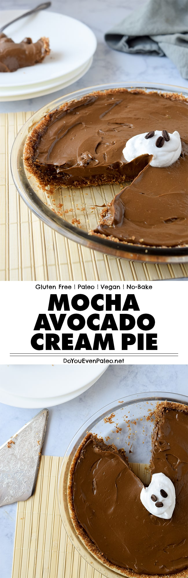 Mocha Avocado Cream Pie - a simple, no bake dessert recipe featuring avocados, chocolate and cold brew coffee! Using avocado pudding as a base, this healthy recipe is gluten free, paleo, clean eating, and uses only a few ingredients. | DoYouEvenPaleo.net #paleo #glutenfree #doyouevenpaleo