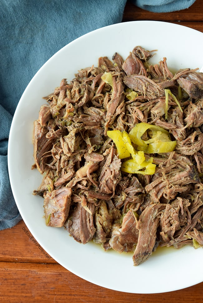 Whole30 Pepperoncini Shredded Beef | DoYouEvenPaleo.net