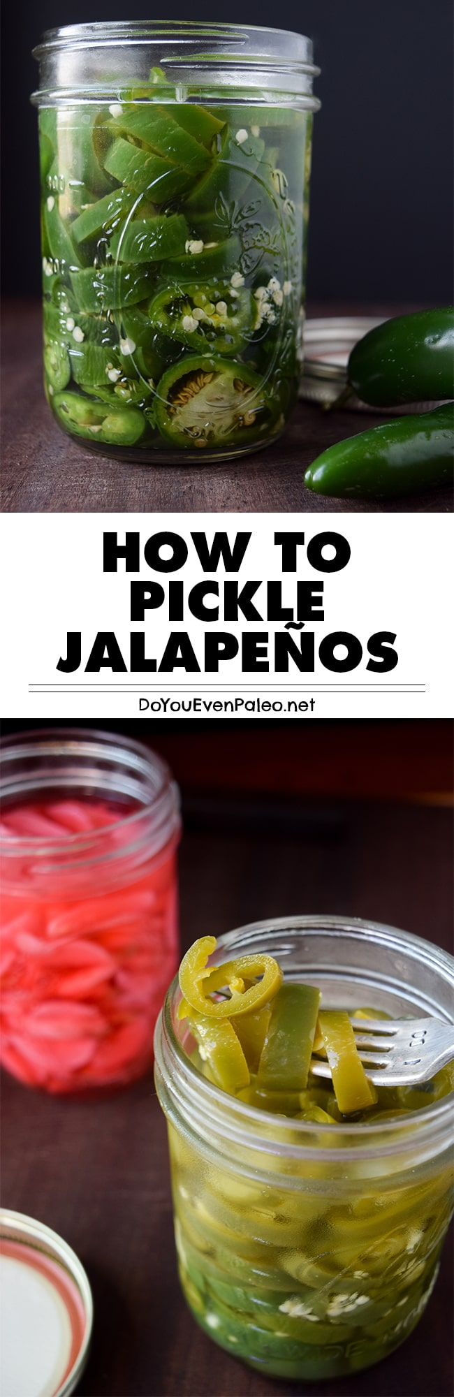 Make these pickled jalapeños to top your tacos, stuff into omelettes or add a spicy kick to salads. Quick and easy, this healthy recipe is gluten free, paleo, and Whole30 friendly! | DoYouEvenPaleo.net #paleo #glutenfree #doyouevenpaleo