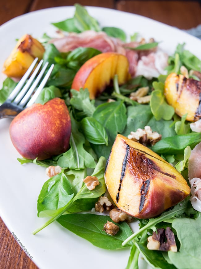 Grilled Peach & Walnut Salad with Honey Mustard Vinaigrette | DoYouEvenPaleo.net