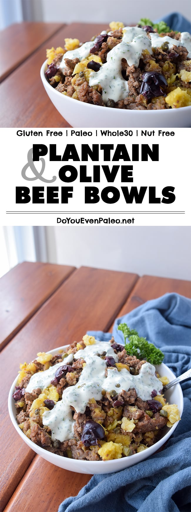 Sick of eggs for breakfast? You've got to try these plantain & olive beef bowls! Gluten free, paleo, and Whole30 with AIP substitutions. | DoYouEvenPaleo.net
