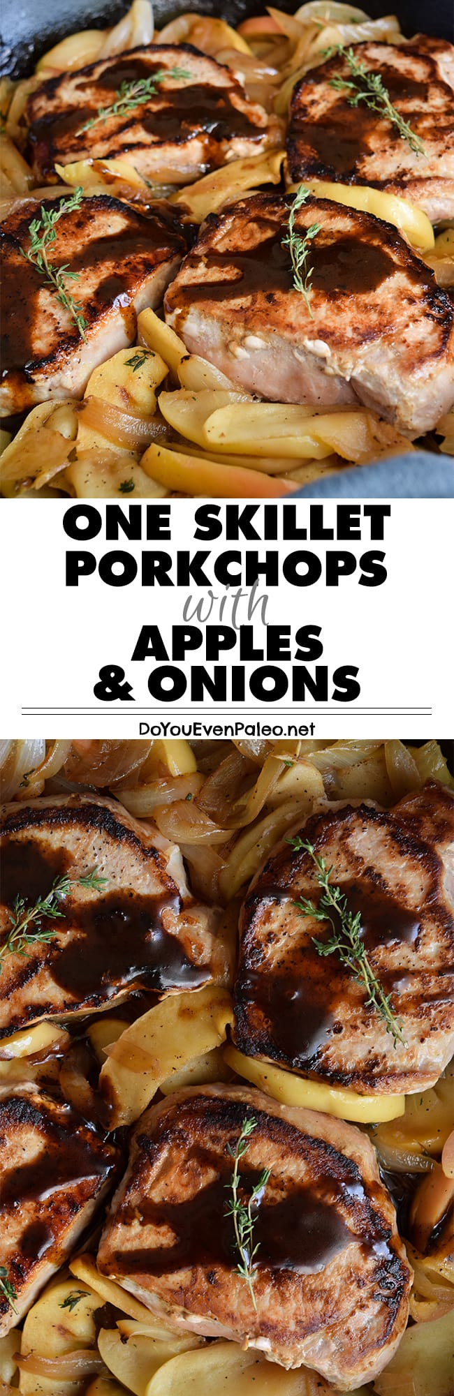 One Skillet Pork chops with Apples & Onions - get dinner on the table in roughly 30 minutes! Gluten free, paleo, Whole30, AIP friendly | DoYouEvenPaleo.net