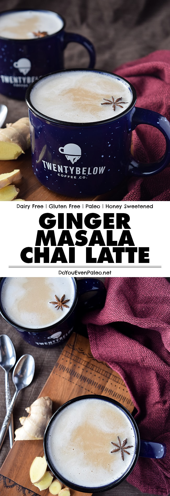 This homemade Ginger Masala Chai Latte features the rustic, spicy flavor of ginger along with all the other well-known chai spices! It's dairy free, honey sweetened, and paleo. | DoYouEvenPaleo.net