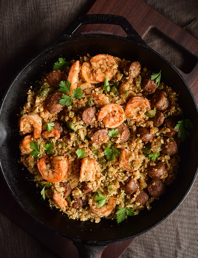Whole30 Shrimp, Sausage, and Caulirice Skillet | DoYouEvenPaleo.net