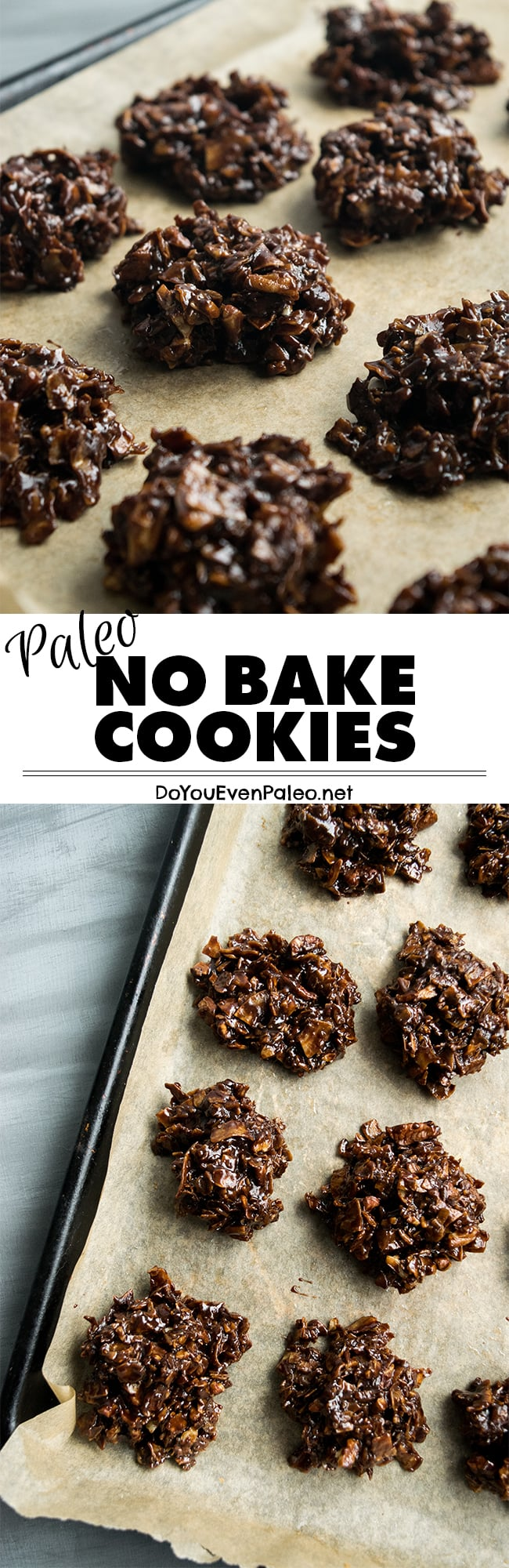 Paleo No Bake Cookies - my healthy version of these classic cookies are made entirely on the stovetop using coconut, nuts, ghee, coconut sugar, and cocoa. Chocolatey, simple, gluten free, vegetarian, and clean eating friendly! | DoYouEvenPaleo.net #paleo #glutenfree #doyouevenpaleo