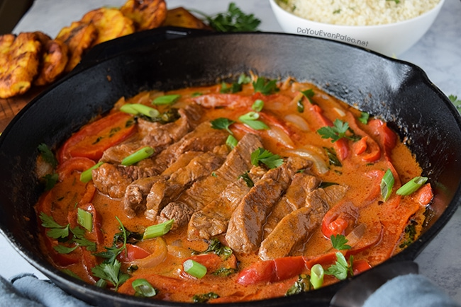 Quick Thai Red Curry Beef Tenderloin Skillet | DoYouEvenPaleo.net