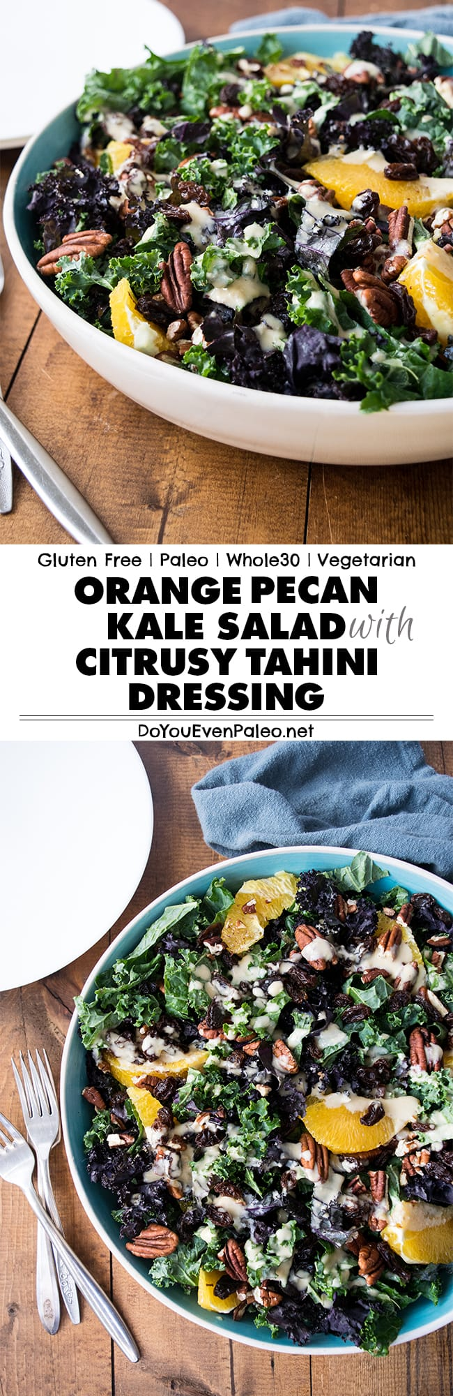 Whole30 Orange Pecan Kale Salad with Citrus Tahini Dressing