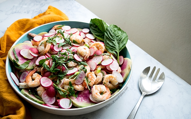 Springtime Shrimp & Radish Salad | DoYouEvenPaleo.net