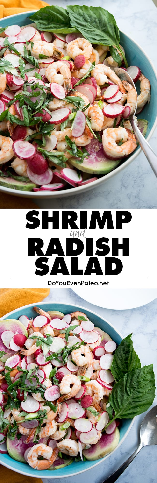 This crunchy and citrusy Shrimp & Radish Salad adds bright color to your table. Gluten free, paleo and whole30-friendly! | DoYouEvenPaleo.net