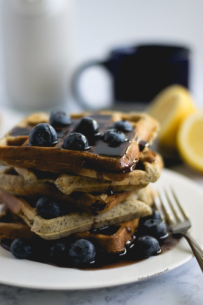 Gluten Free Lemon Poppy Seed Waffles with Blueberry Maple Syrup | DoYouEvenPaleo.net