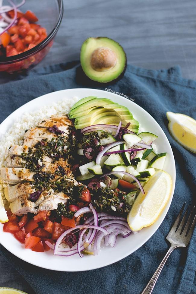 Mediterranean Chicken & Cauliflower Rice Bowls | DoYouEvenPaleo.net