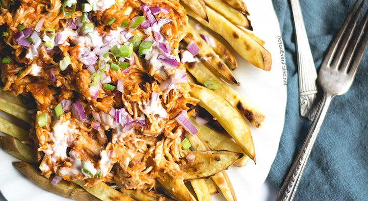 BBQ Chicken Smothered Sweet Potato Fries | DoYouEvenPaleo.net