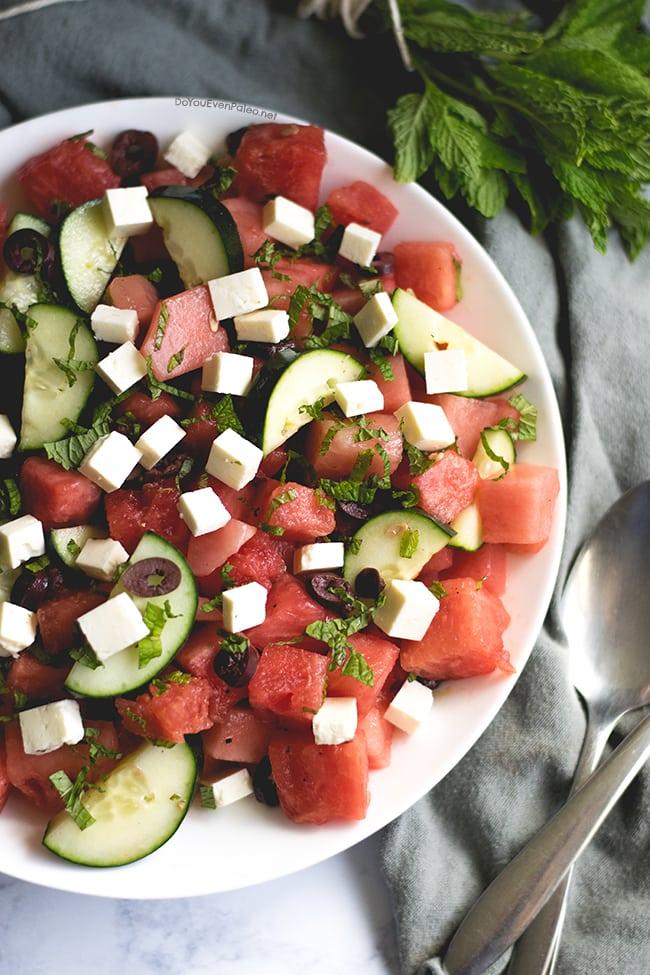 Mediterranean Watermelon Salad | DoYouEvenPaleo.net