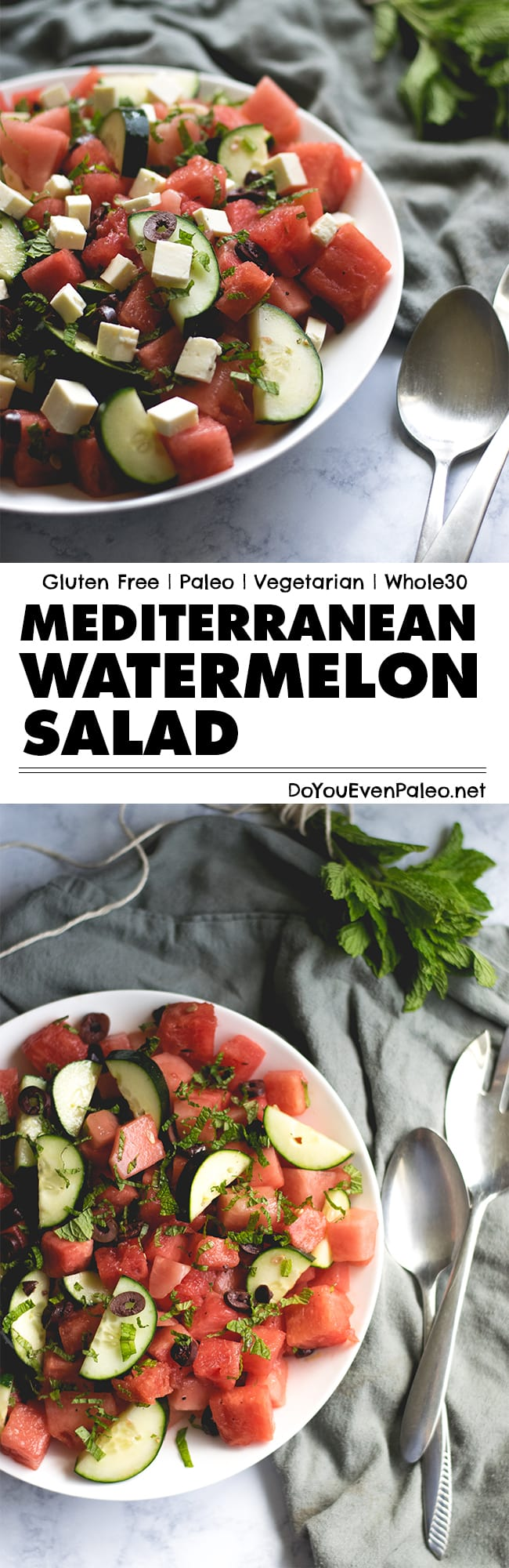 A summery Mediterranean Watermelon Salad is studded with cucumbers, olives, mint, and (optional) feta cheese. Perfect for potlucks or BBQs! | DoYouEvenPaleo.net