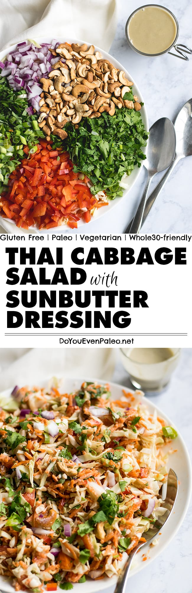 Paleo Thai Cabbage Salad with Sunbutter Dressing Recipe Pin | DoYouEvenPaleo.net