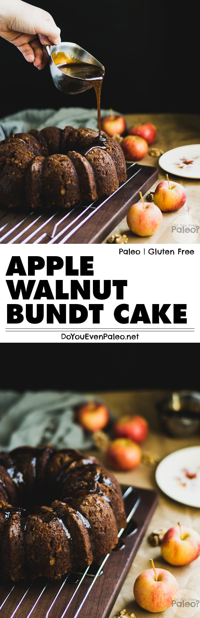 This lush paleo apple walnut bundt cake is complete with sweet apples, toasty walnuts and warm spices. It pairs perfectly with a hot cup of coffee or tea! | DoYouEvenPaleo.net
