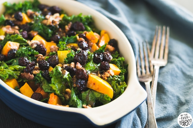 Warm Kale & Butternut Squash Salad with Cranberries & Walnuts | DoYouEvenPaleo.net