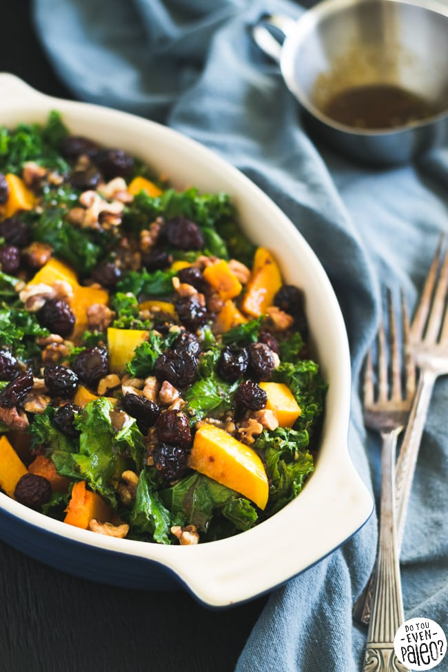 Warm Gluten Free Kale & Butternut Squash Salad with Cranberries & Walnuts | DoYouEvenPaleo.net