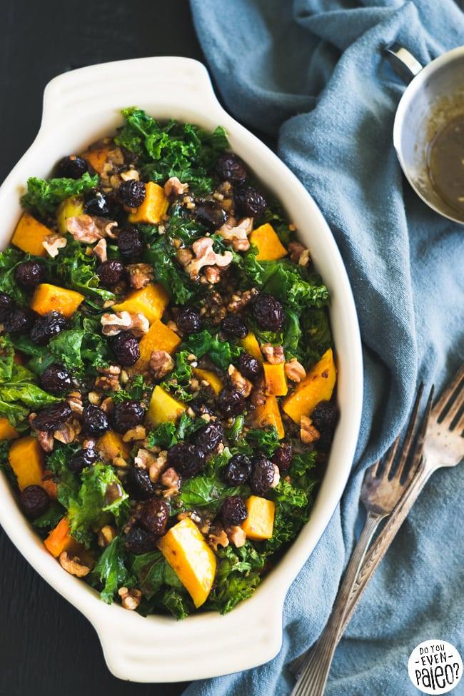 Whole30 Warm Paleo Kale & Butternut Squash Salad with Cranberries & Walnuts | DoYouEvenPaleo.net