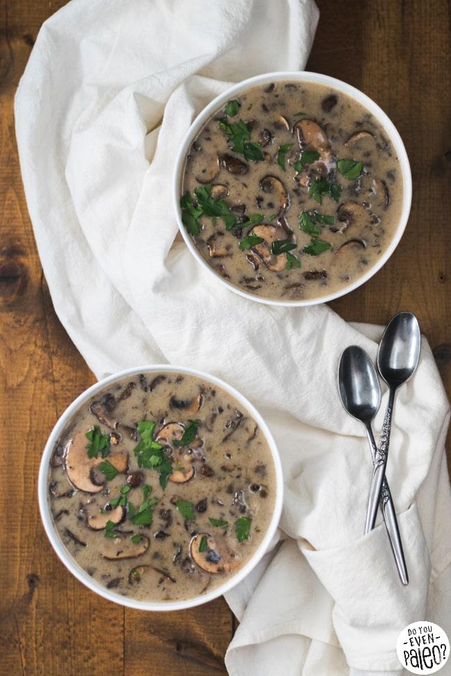 Creamy Dairy Free Garlic Mushroom Soup | DoYouEvenPaleo.net