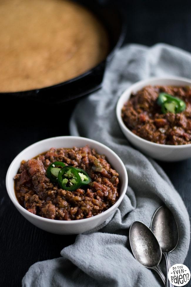 Paleo Sausage Chili with Gluten Free Skillet Cornbread | DoYouEvenPaleo.net