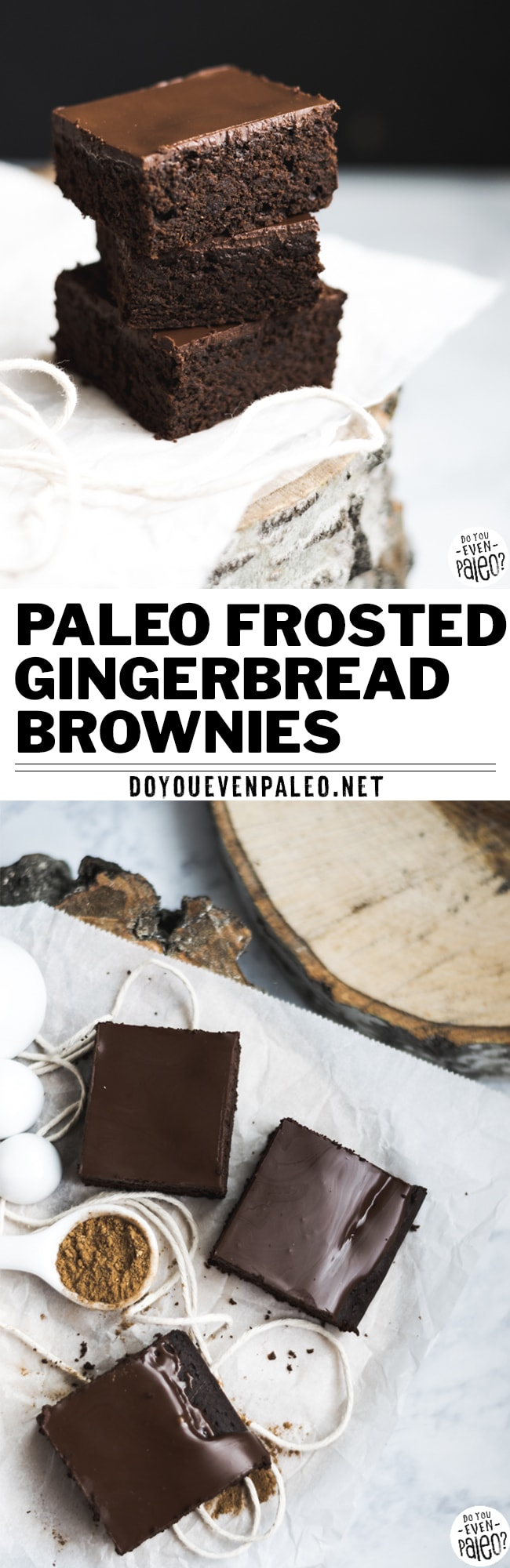 Deep, dark, and rich, these frosted gluten free gingerbread brownies made with cassava flour are the perfect way to indulge a chocolate craving. With molasses and warm gingerbread spices, they have a touch of festive flavor! Paleo, gluten free, vegetarian. | DoYouEvenPaleo.net #paleo #glutenfree