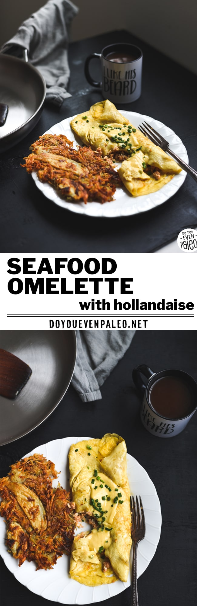A hearty seafood omelette recipe sponsored by Southern Kitchen and topped with dairy free hollandaise sauce! It's gluten free and paleo. | DoYouEvenPaleo.net