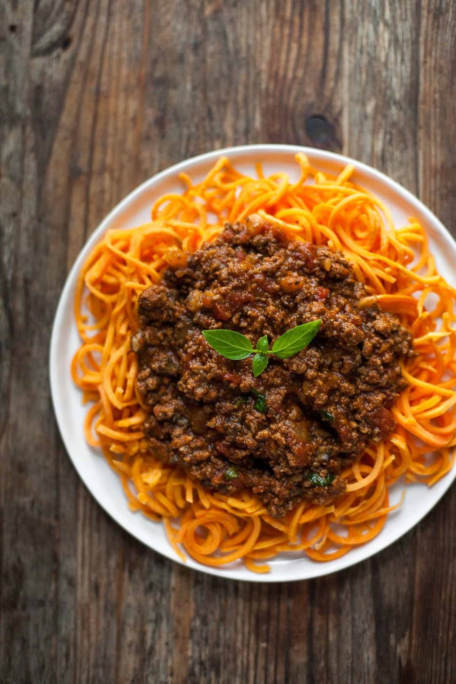 Whole30 Slow Cooked Bolognese Sauce with Sweet Potato Noodles by A Calculated Whisk